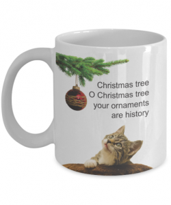 cat christmas mug